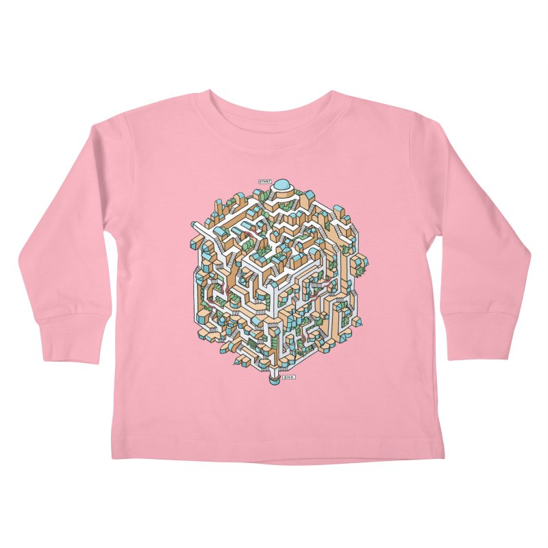 Cube Maze Kids Toddler Longsleeve T-Shirt by Sean C Jackson