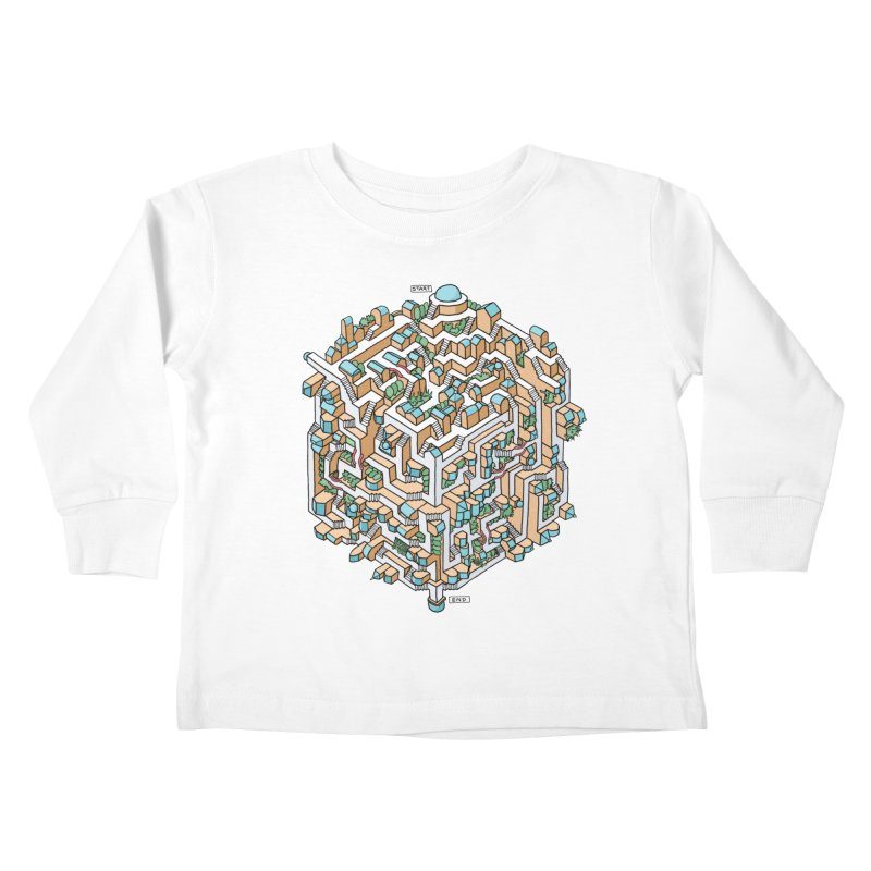 Cube Maze Kids Toddler Longsleeve T-Shirt by Sean C Jackson