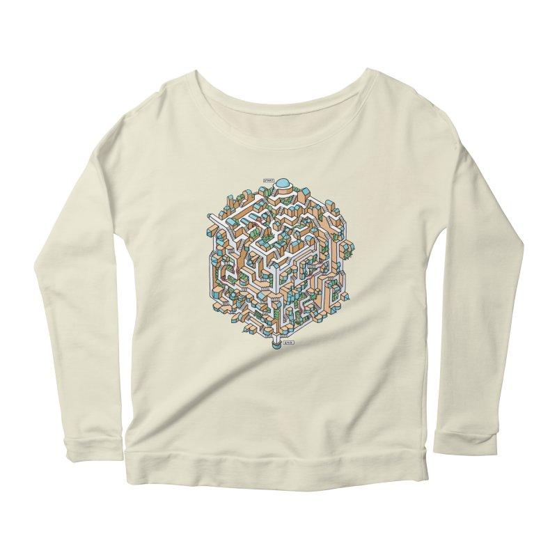 Cube Maze Women's Scoop Neck Longsleeve T-Shirt by Sean C Jackson