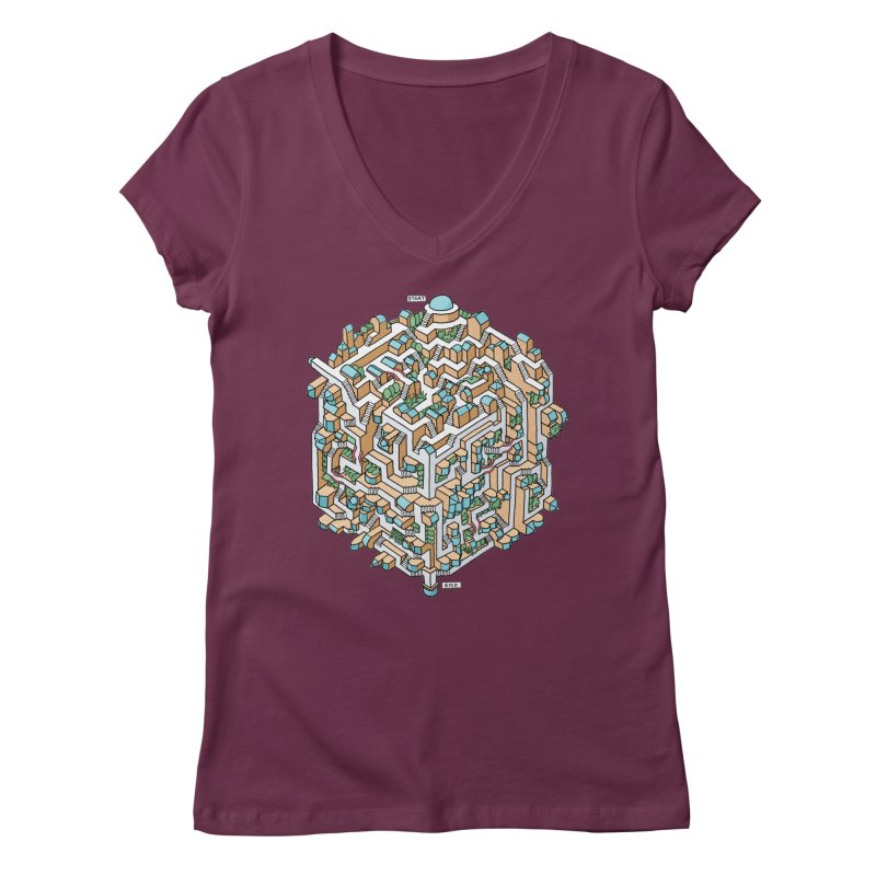 Cube Maze Women's V-Neck by Sean C Jackson