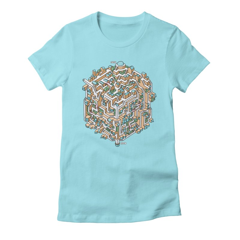 Cube Maze Women's Fitted T-Shirt by Sean C Jackson