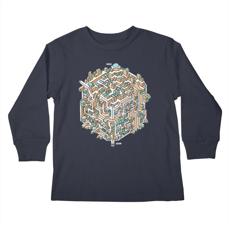 Cube Maze Kids Longsleeve T-Shirt by Sean C Jackson