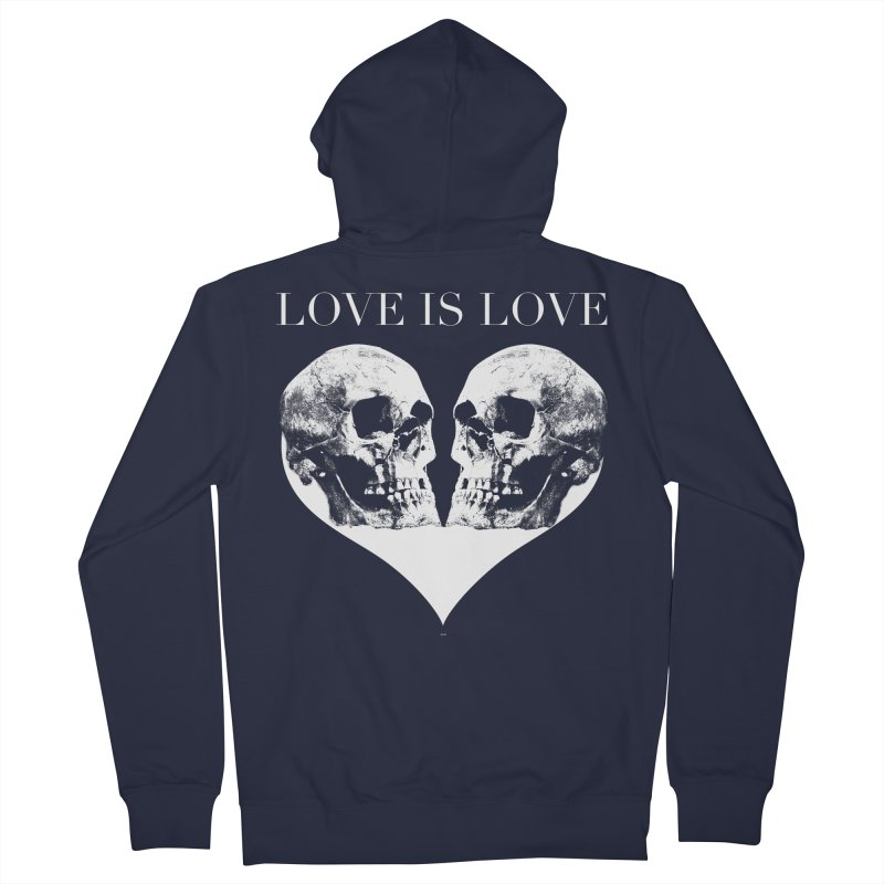 LOVE IS LOVE - Skulls Men's French Terry Zip-Up Hoody by Gothman Flavored Clothing