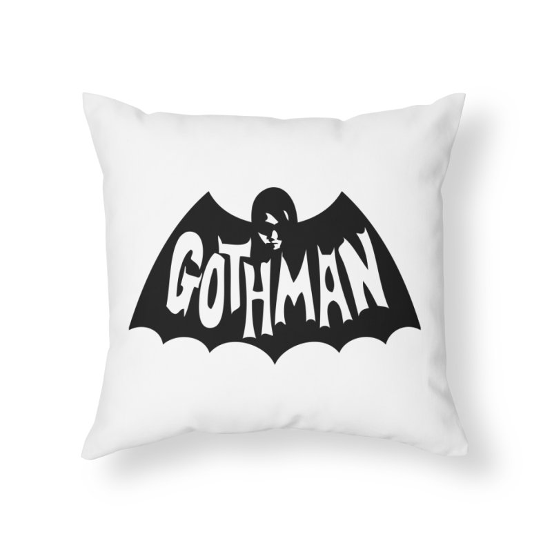 Gothman Classic Black Home Throw Pillow by Gothman Flavored Clothing