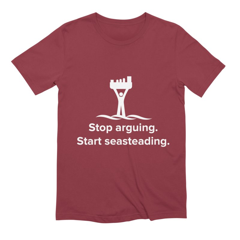 Stop Arguing Start Seasteading (logo white) Men's Extra Soft T-Shirt by The Seasteading Institute's Supporters Shop