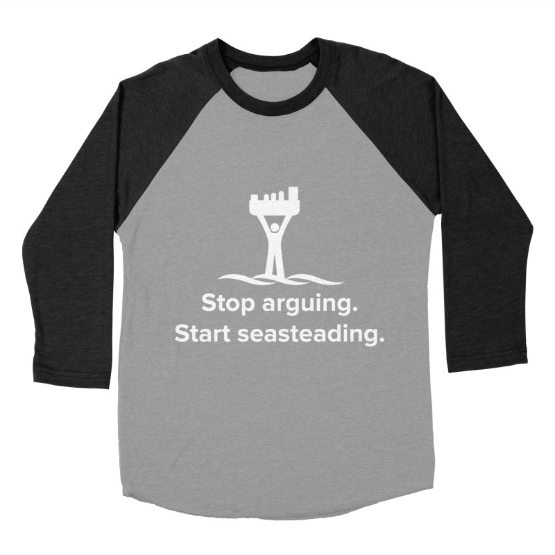 Stop Arguing Start Seasteading (logo white) Men's Baseball Triblend Longsleeve T-Shirt by The Seasteading Institute's Supporters Shop
