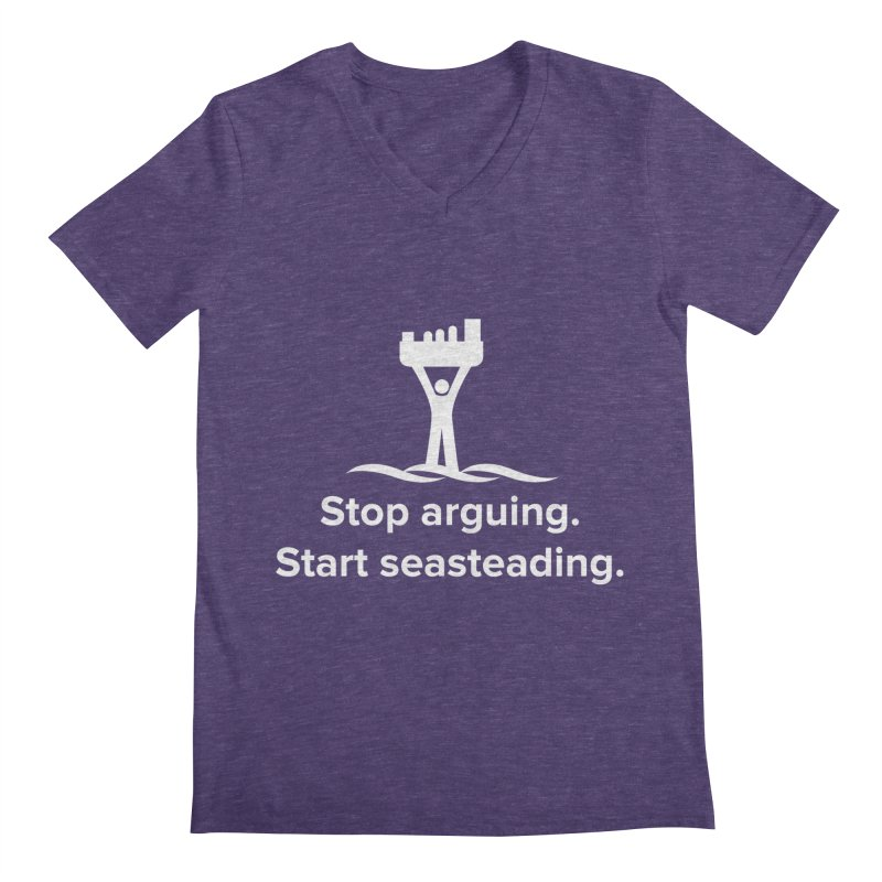 Stop Arguing Start Seasteading (logo white) Men's Regular V-Neck by The Seasteading Institute's Supporters Shop