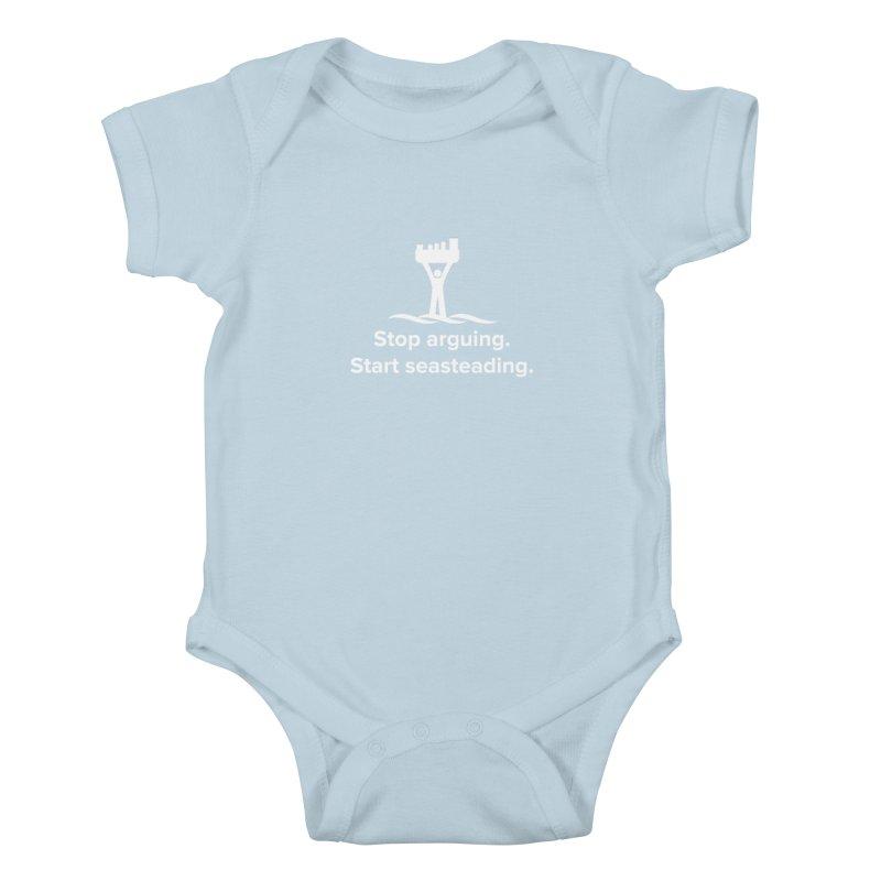 Stop Arguing Start Seasteading (logo white) Kids Baby Bodysuit by The Seasteading Institute's Supporter's Shop