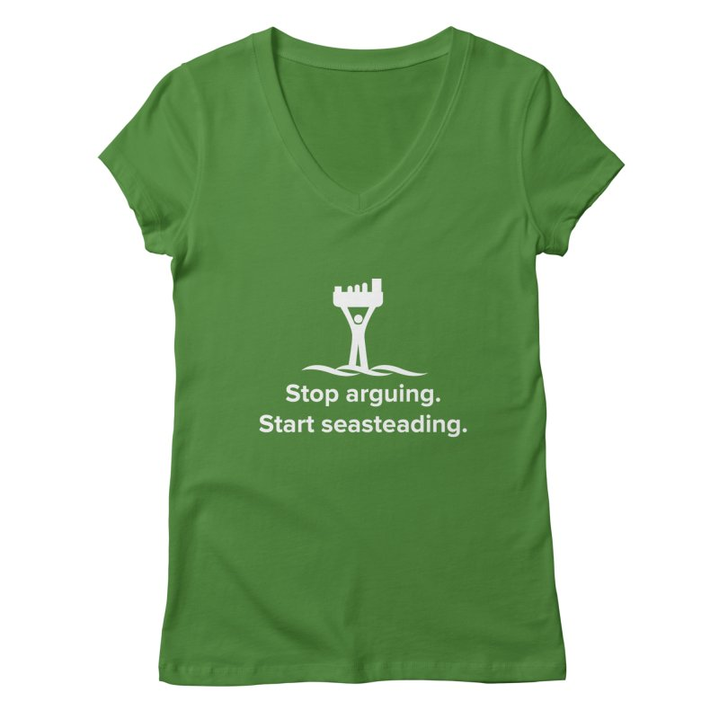 Stop Arguing Start Seasteading (logo white) Women's V-Neck by The Seasteading Institute's Supporter's Shop