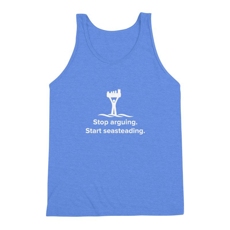 Stop Arguing Start Seasteading (logo white) Men's Triblend Tank by The Seasteading Institute's Supporter's Shop