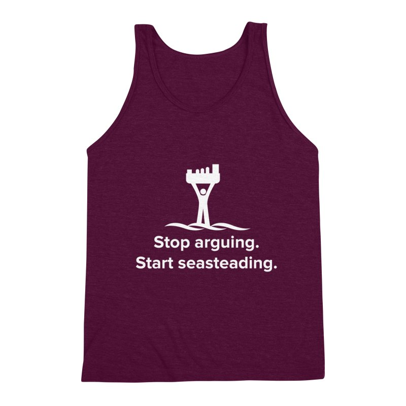Stop Arguing Start Seasteading (logo white) Men's Triblend Tank by The Seasteading Institute's Supporters Shop
