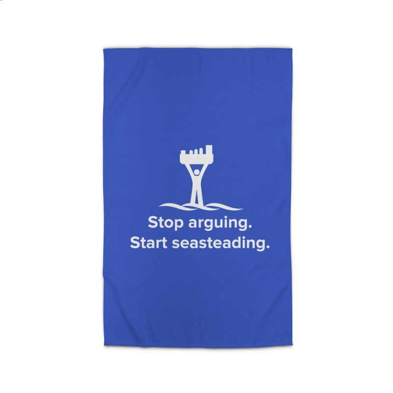 Stop Arguing Start Seasteading (logo white) Home Rug by The Seasteading Institute's Supporters Shop