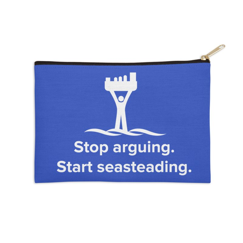 Stop Arguing Start Seasteading (logo white) Accessories Zip Pouch by The Seasteading Institute's Supporters Shop