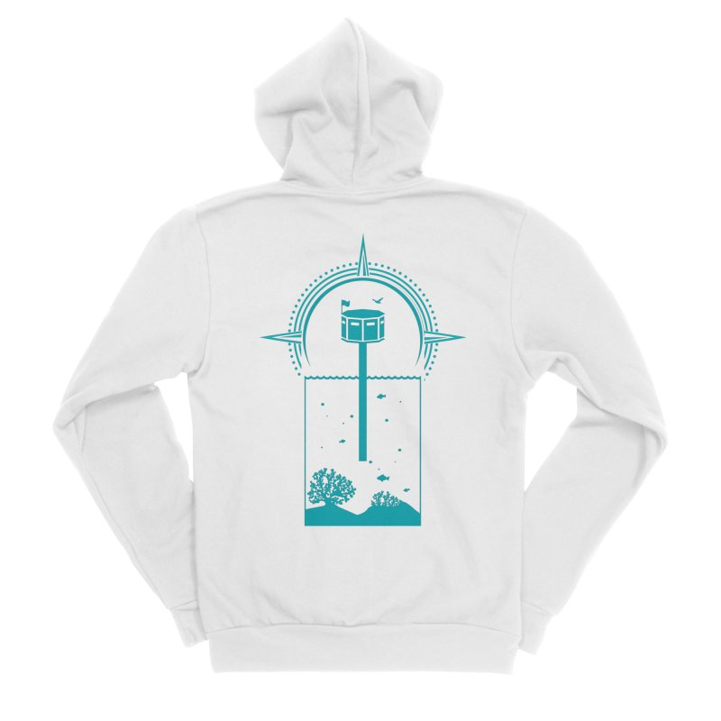The First Seastead (green) Women's Sponge Fleece Zip-Up Hoody by The Seasteading Institute's Supporters Shop