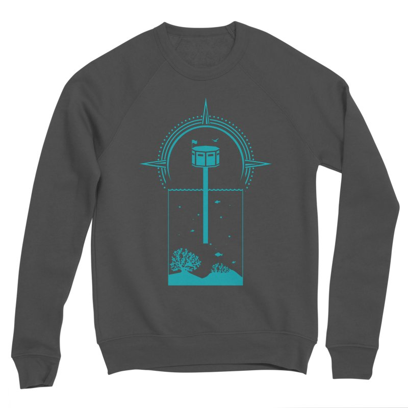 The First Seastead (green) Men's Sponge Fleece Sweatshirt by The Seasteading Institute's Supporters Shop