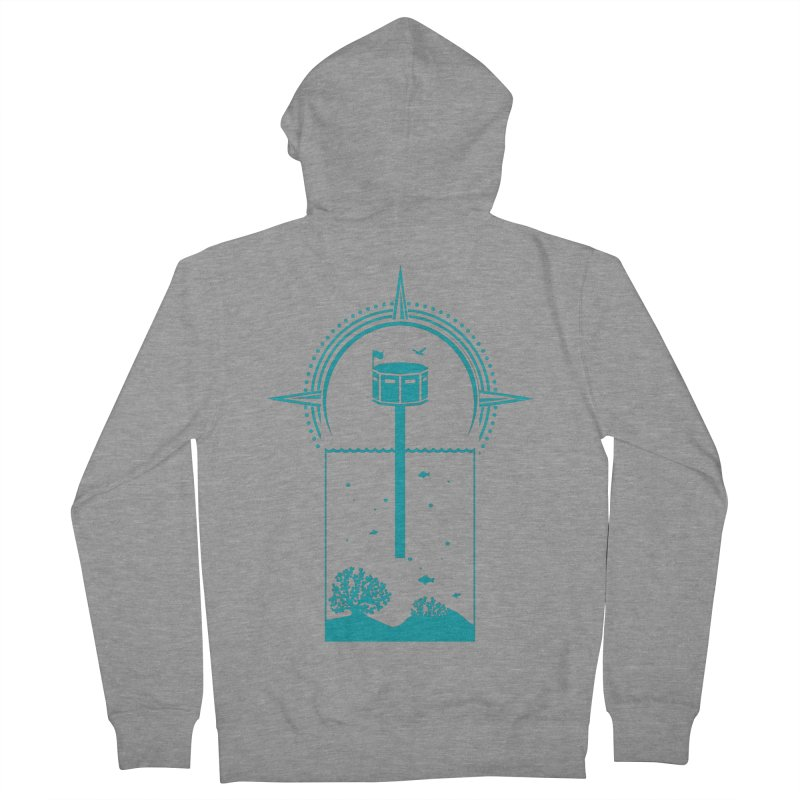The First Seastead (green) Men's French Terry Zip-Up Hoody by The Seasteading Institute's Supporters Shop