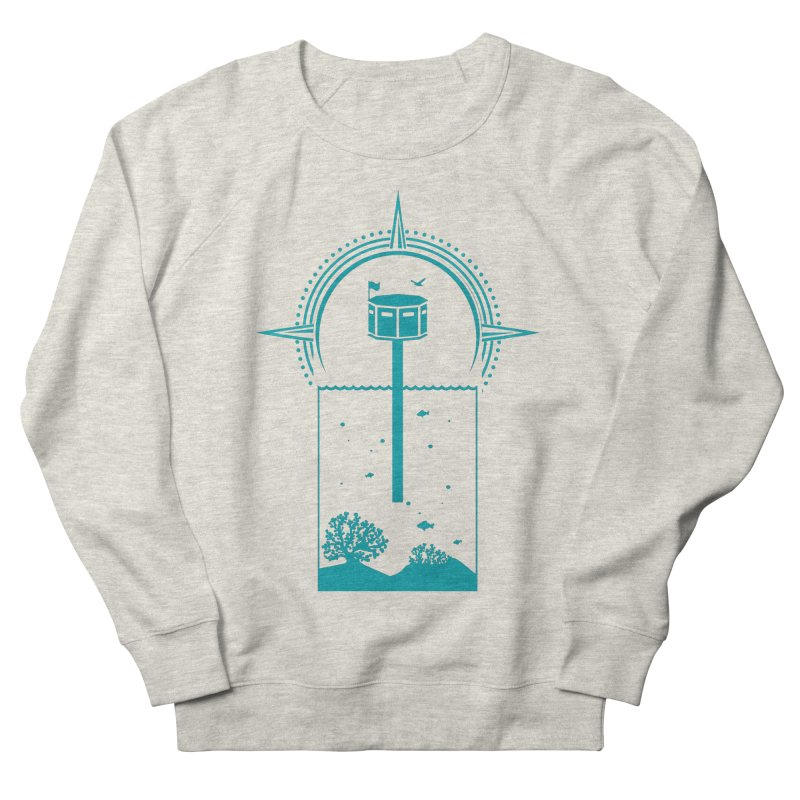 The First Seastead (green) Men's French Terry Sweatshirt by The Seasteading Institute's Supporters Shop