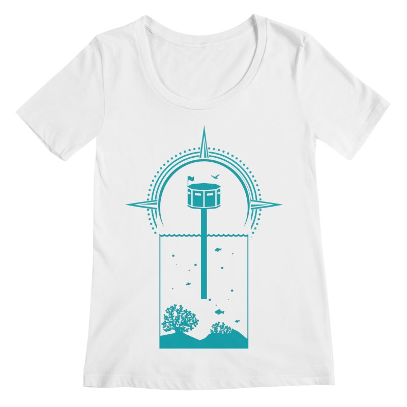 The First Seastead (green) Women's Regular Scoop Neck by The Seasteading Institute's Supporters Shop