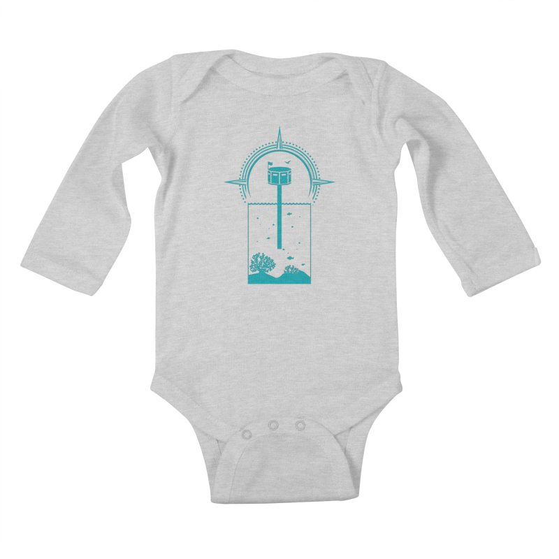 The First Seastead (green) Kids Baby Longsleeve Bodysuit by The Seasteading Institute's Supporters Shop