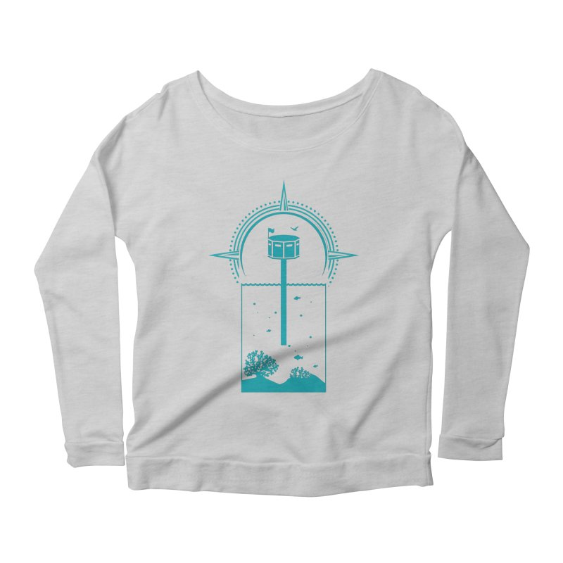 The First Seastead (green) Women's Scoop Neck Longsleeve T-Shirt by The Seasteading Institute's Supporters Shop