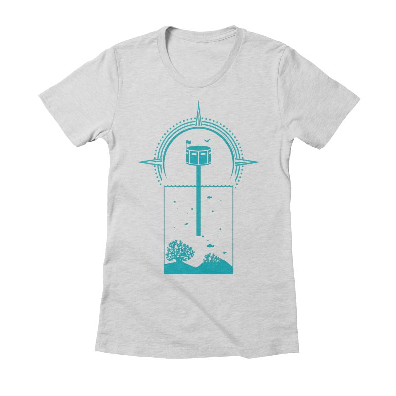 The First Seastead (green) Women's Fitted T-Shirt by The Seasteading Institute's Supporters Shop