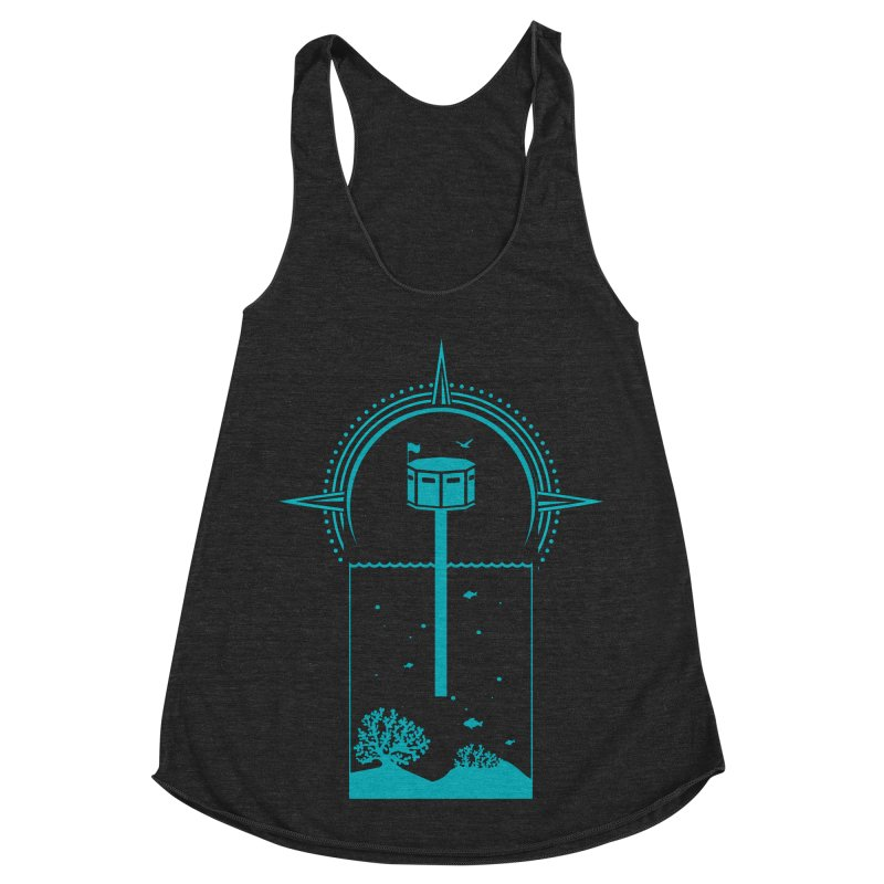 The First Seastead (green) Women's Racerback Triblend Tank by The Seasteading Institute's Supporters Shop
