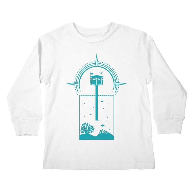 The First Seastead (green) Kids Longsleeve T-Shirt by The Seasteading Institute's Supporters Shop