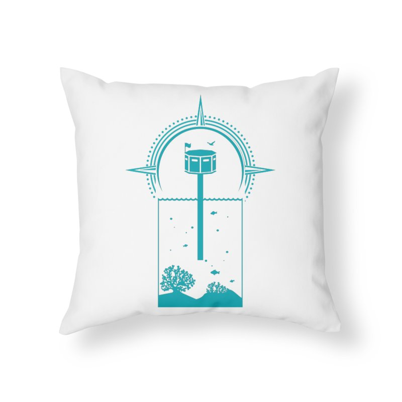 The First Seastead (green) Home Throw Pillow by The Seasteading Institute's Supporters Shop