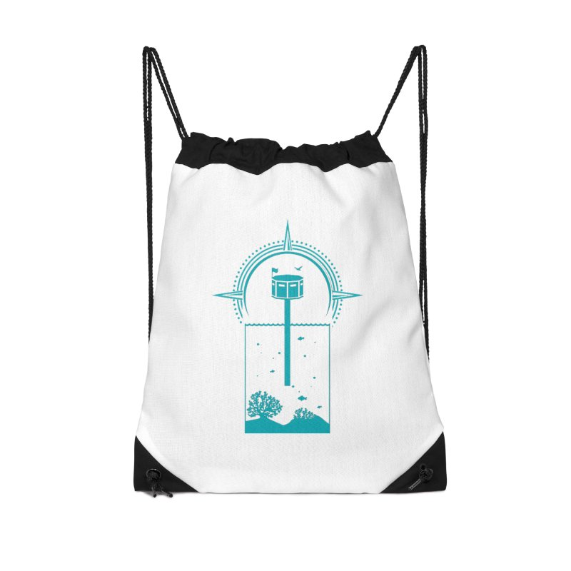 The First Seastead (green) Accessories Drawstring Bag Bag by The Seasteading Institute's Supporters Shop