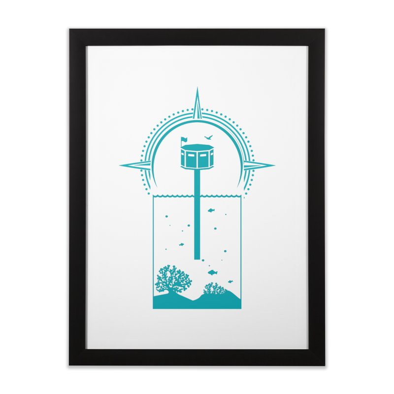 The First Seastead (green) Home Framed Fine Art Print by The Seasteading Institute's Supporters Shop