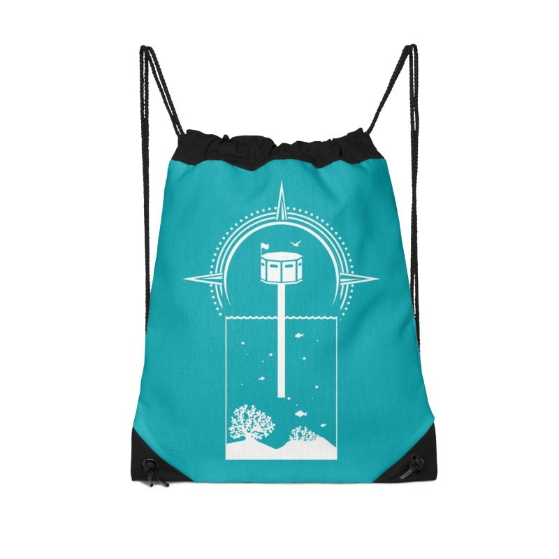 The First Seastead (white) Accessories Drawstring Bag Bag by The Seasteading Institute's Supporters Shop