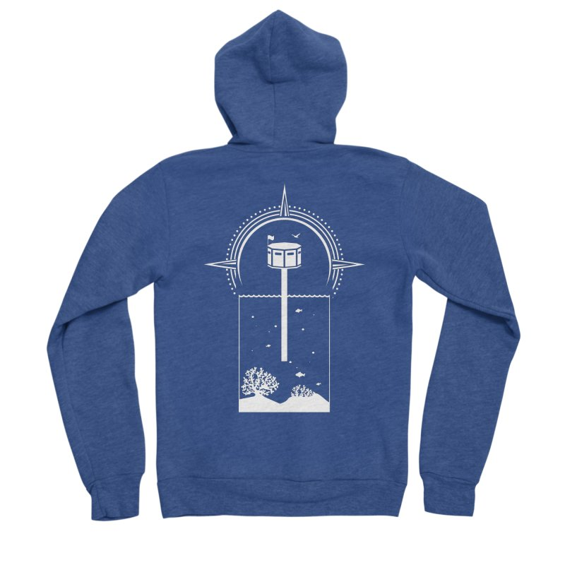 The First Seastead (white) Men's Sponge Fleece Zip-Up Hoody by The Seasteading Institute's Supporters Shop