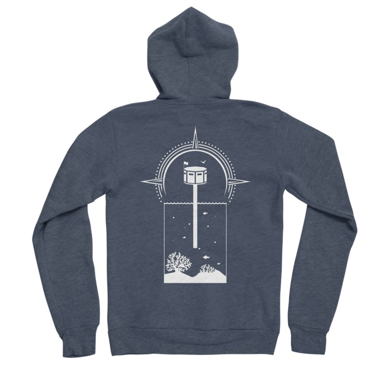 The First Seastead (white) Women's Sponge Fleece Zip-Up Hoody by The Seasteading Institute's Supporters Shop