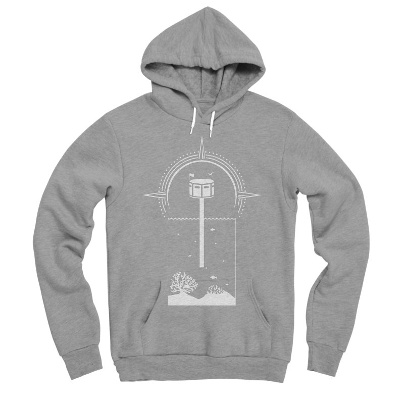 The First Seastead (white) Men's Sponge Fleece Pullover Hoody by The Seasteading Institute's Supporters Shop