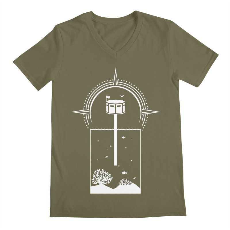 The First Seastead (white) Men's Regular V-Neck by The Seasteading Institute's Supporters Shop
