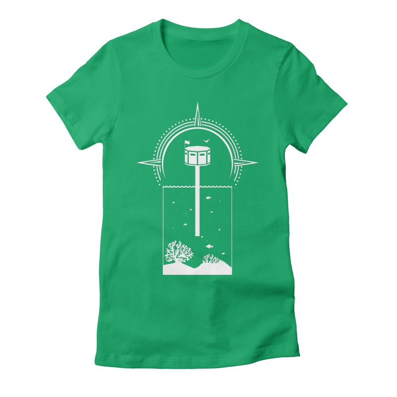 The First Seastead (white) Women's Fitted T-Shirt by The Seasteading Institute's Supporters Shop