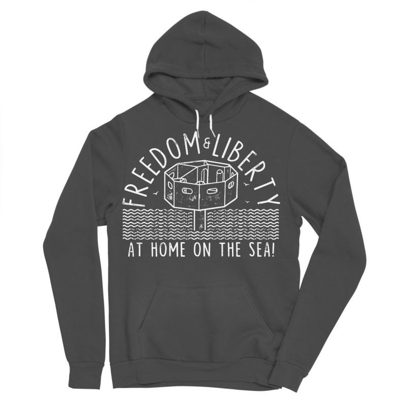 Freedom & Liberty First Seastead Men's Sponge Fleece Pullover Hoody by The Seasteading Institute's Supporters Shop