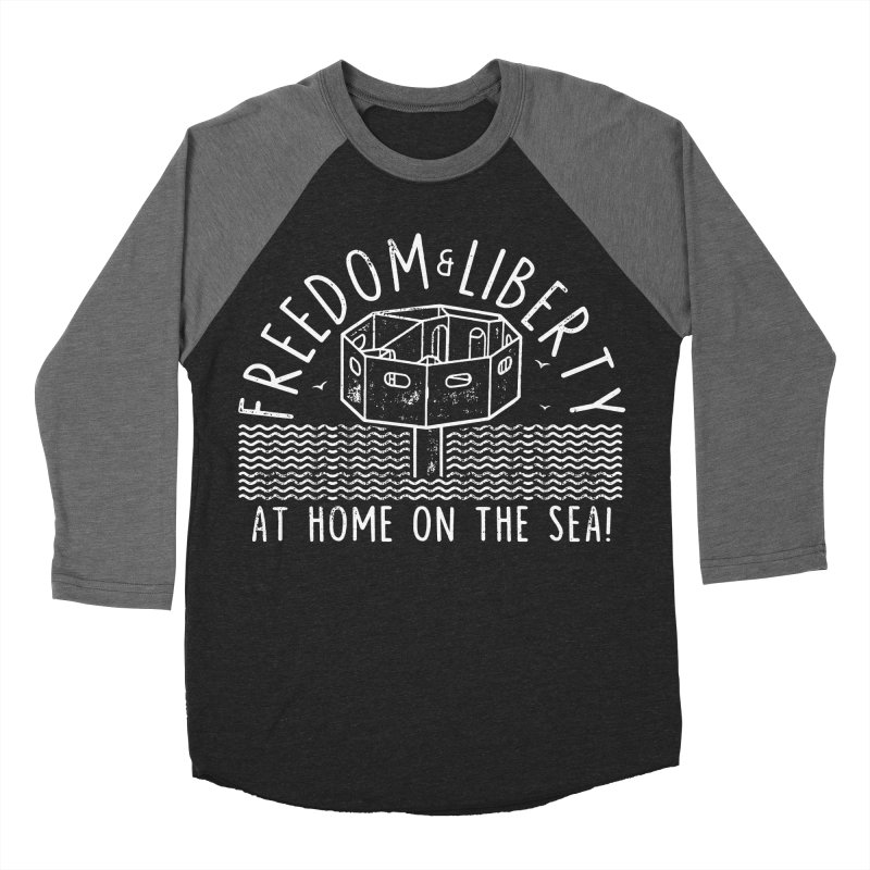 Freedom & Liberty First Seastead Men's Baseball Triblend Longsleeve T-Shirt by The Seasteading Institute's Supporters Shop