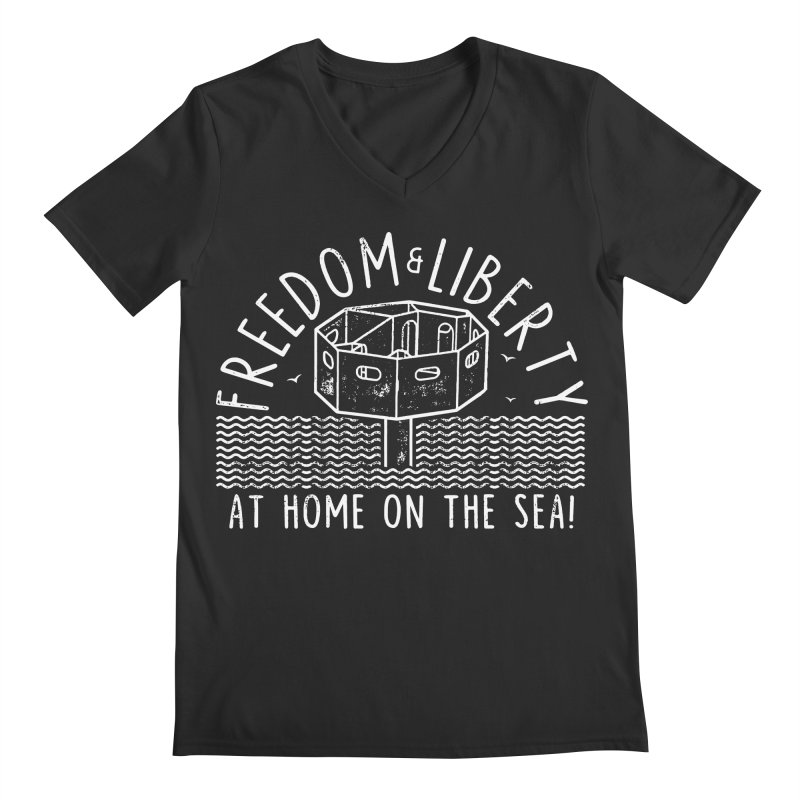 Freedom & Liberty First Seastead Men's Regular V-Neck by The Seasteading Institute's Supporters Shop