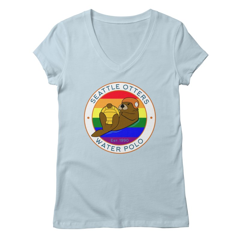 Otters Pride Women's Regular V-Neck by Seattle Otters Water Polo