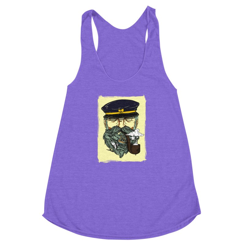 Captain Bluebeard Women's Racerback Triblend Tank by Sebasebi