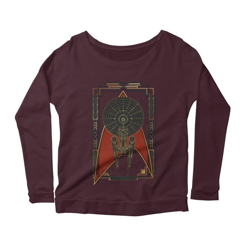 Explore new worlds Women's Scoop Neck Longsleeve T-Shirt by Sebasebi