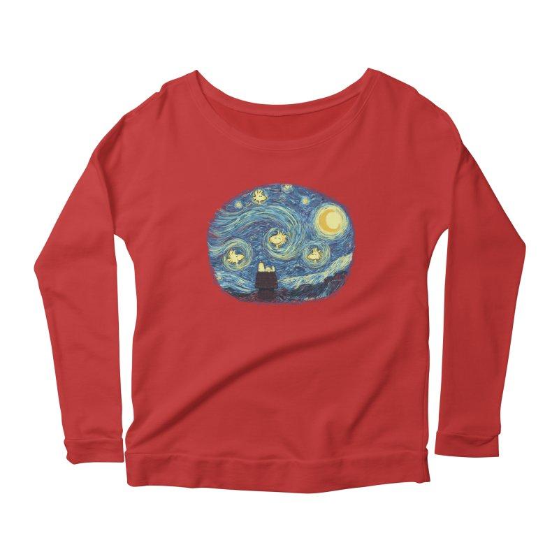 Woody night Women's Scoop Neck Longsleeve T-Shirt by Sebasebi