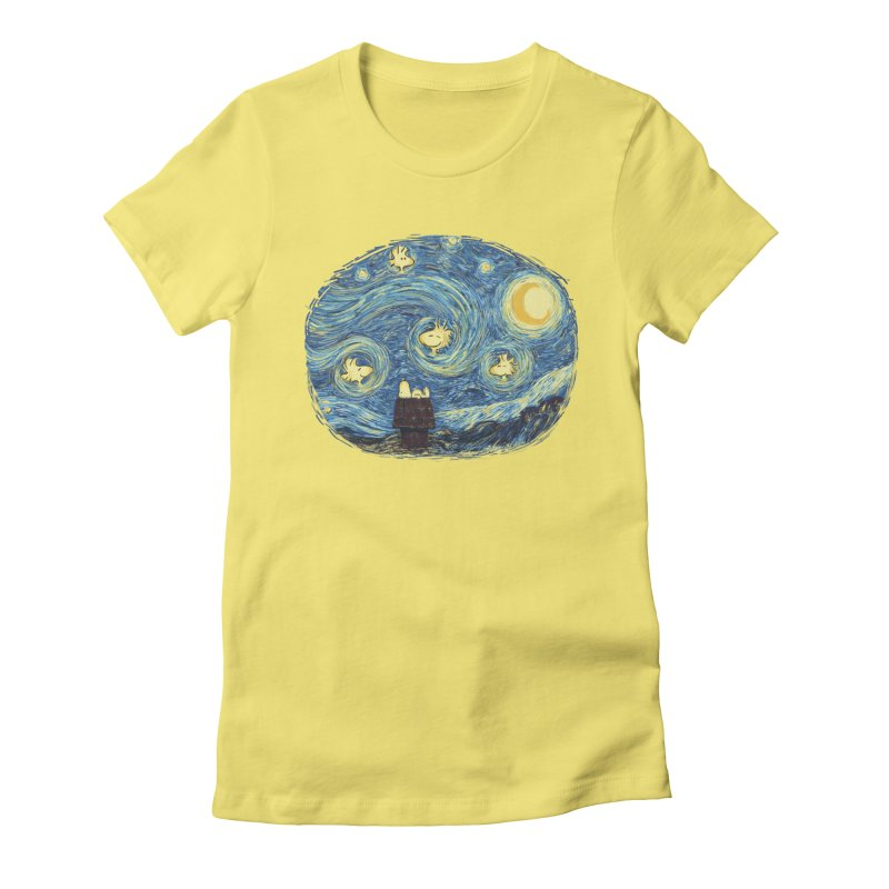 Woody night Women's Fitted T-Shirt by Sebasebi