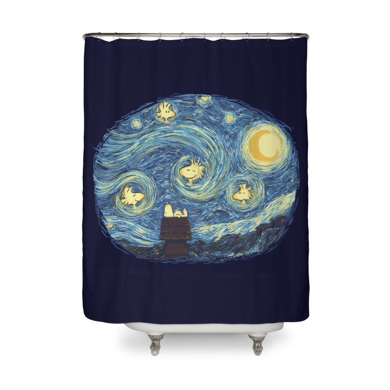 Woody night Home Shower Curtain by Sebasebi