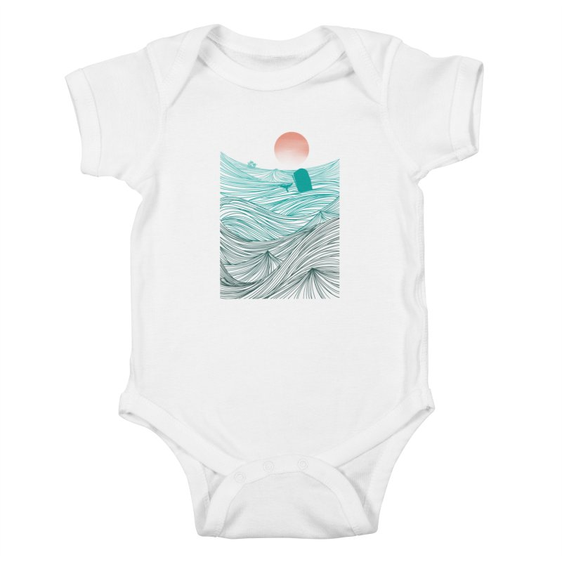 Behind the great whale Kids Baby Bodysuit by Sebasebi