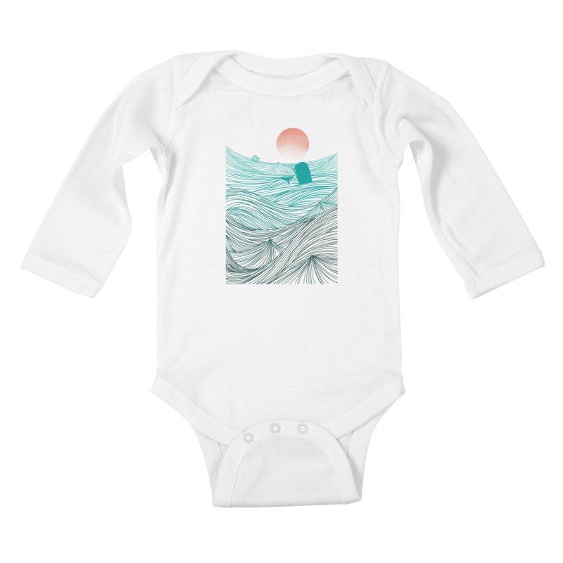 Behind the great whale Kids Baby Longsleeve Bodysuit by Sebasebi