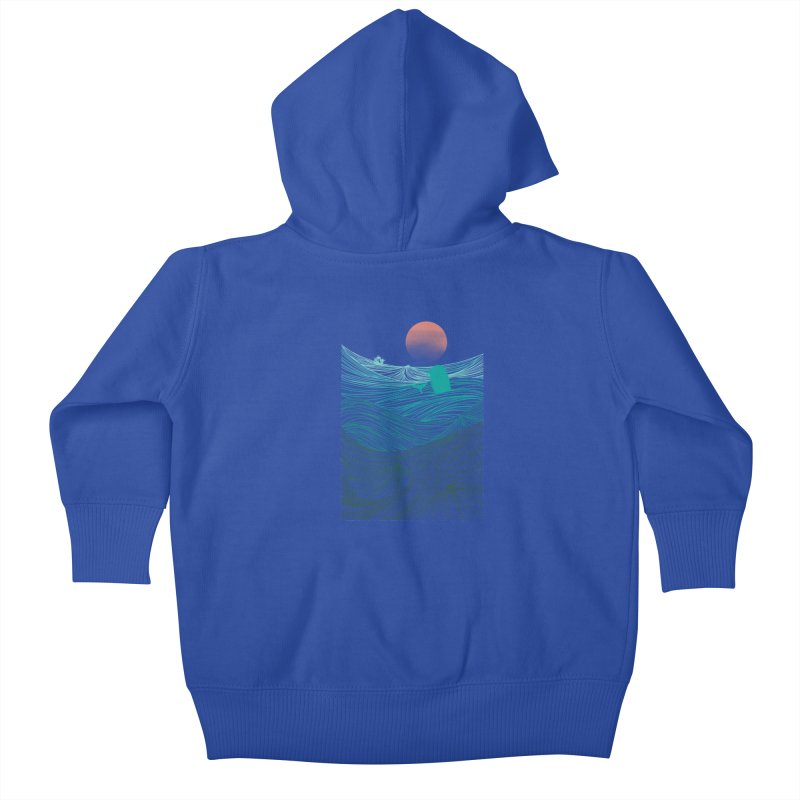 Behind the great whale Kids Baby Zip-Up Hoody by Sebasebi