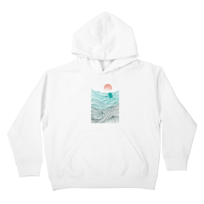 Behind the great whale Kids Pullover Hoody by Sebasebi