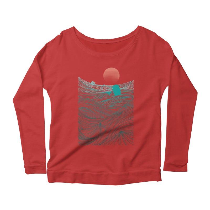 Behind the great whale Women's Scoop Neck Longsleeve T-Shirt by Sebasebi
